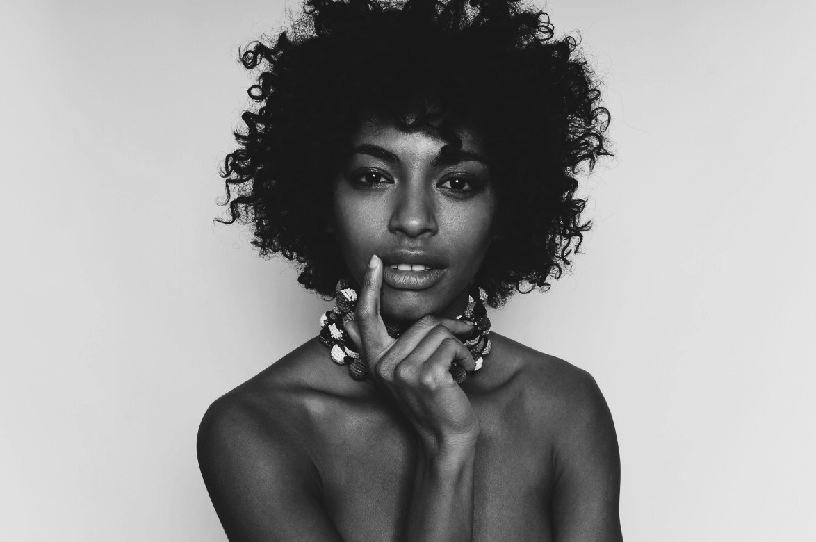 African photography of black woman with afro hair